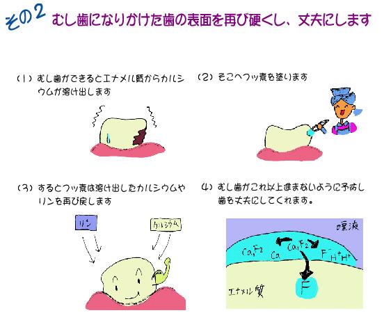 虫歯になりかけた歯の表面を再び硬くし丈夫にします